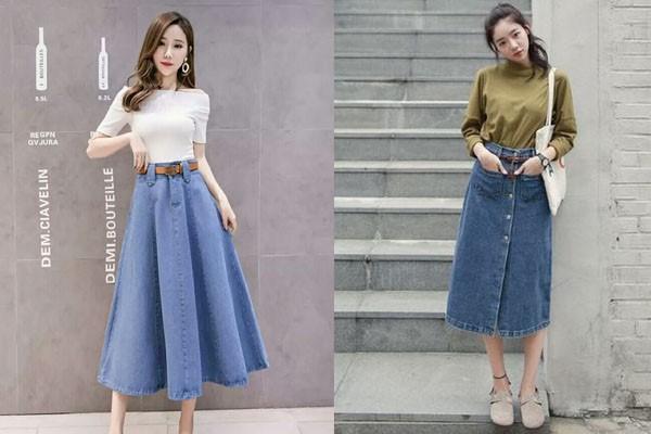 กระโปรงยีนส์ยาวสวยสไตล์สาวเกาหลี แฟชั่นใหม่ การแต่งตัว ความงาม สไตล์การแต่งหน้า Lifestyle กระโปรงยีนส์ยาวสไตลเกาหลี